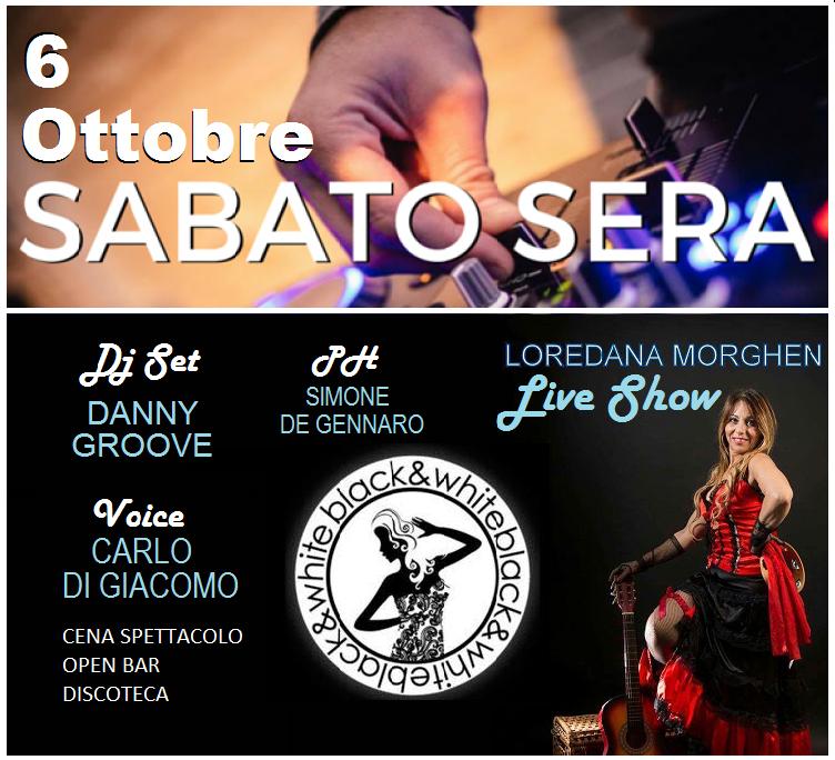 BLACK AND WHITE Discopub Monteruscello Pozzuoli, sabato 6 ottobre Cena spettacolo