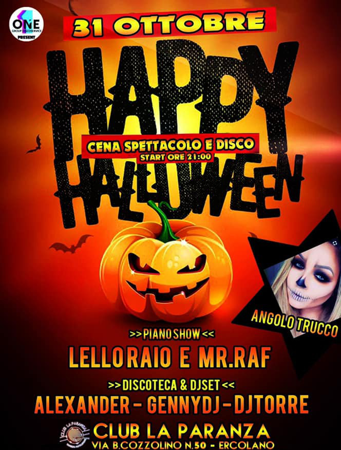 Halloween Party alla PARANZA di Ercolano mercoledì 31 ottobre 2018
