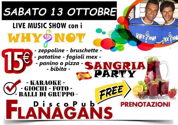 FLANAGANS Discopub Aversa, sabato 13 ottobre Live Music e Sangria Party