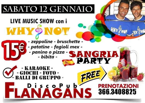 FLANAGANS Discopub Aversa, sabato 12 gennaio Live music e Sangria Gratis
