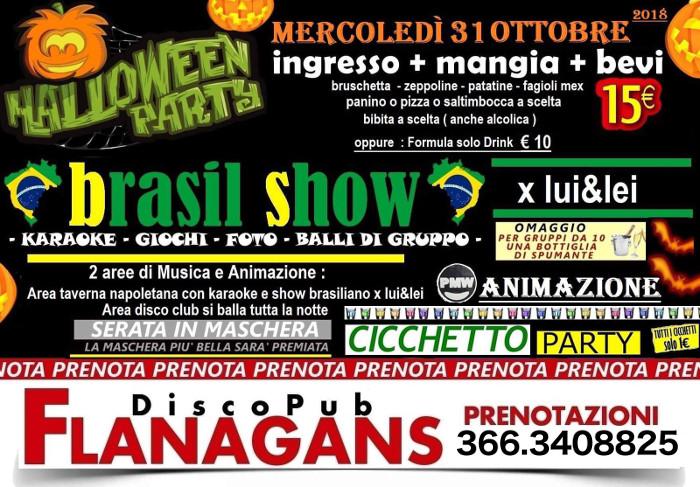 Halloween party al FLANAGANS di Aversa mercoledì 31 ottobre 2018
