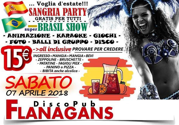 FLANAGANS Discopub Aversa, sabato 7 aprile Sangria e Brazil Party