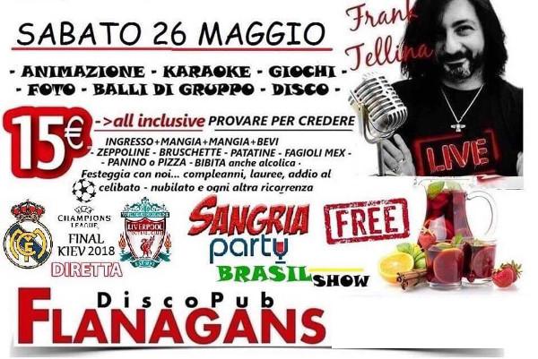 FLANAGANS Discopub Aversa, sabato 26 maggio live Frank Tellina e Party Brasiliano