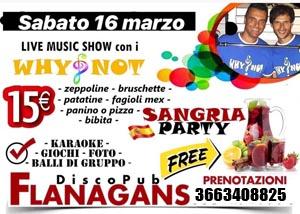 FLANAGANS Discopub Aversa, Sabato 16 Marzo karaoke, Sangria party e disco