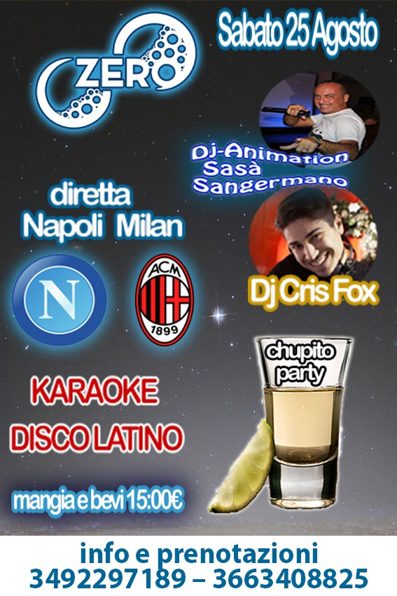 ZERO Madras Discopub Pozzuoli, sabato 25 agosto diretta Napoli e Party a tema