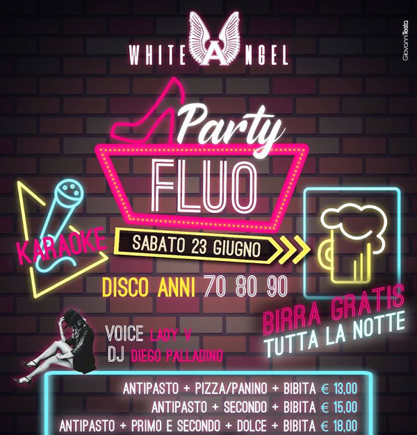 WHITE ANGEL Discopub Nola, sabato 23 giugno FLUO Party, karaoke e disco