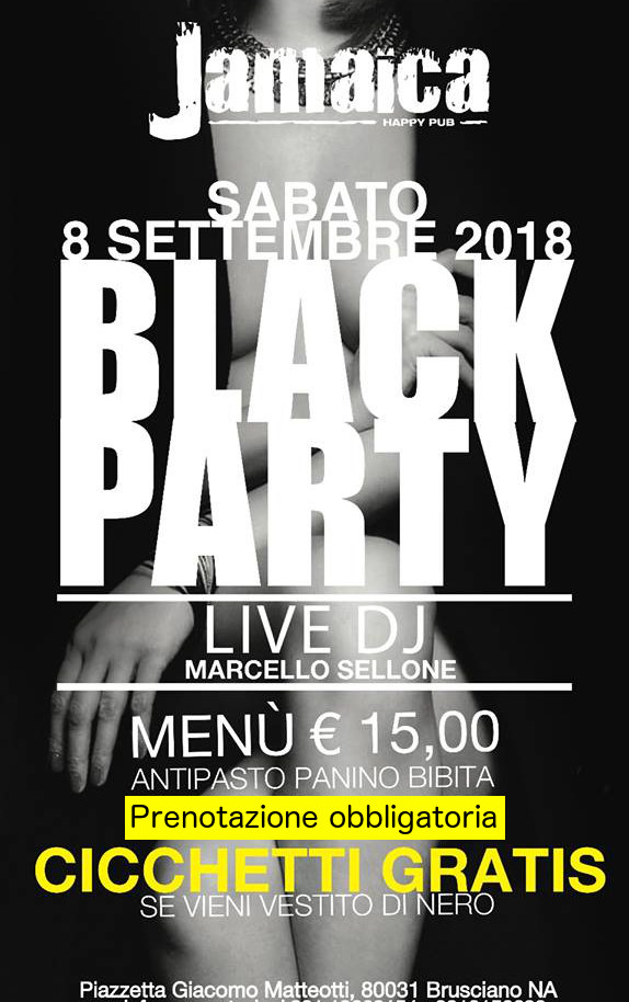 JAMAICA happy pub Brusciano, sabato 8 settembre Party a tema e Disco