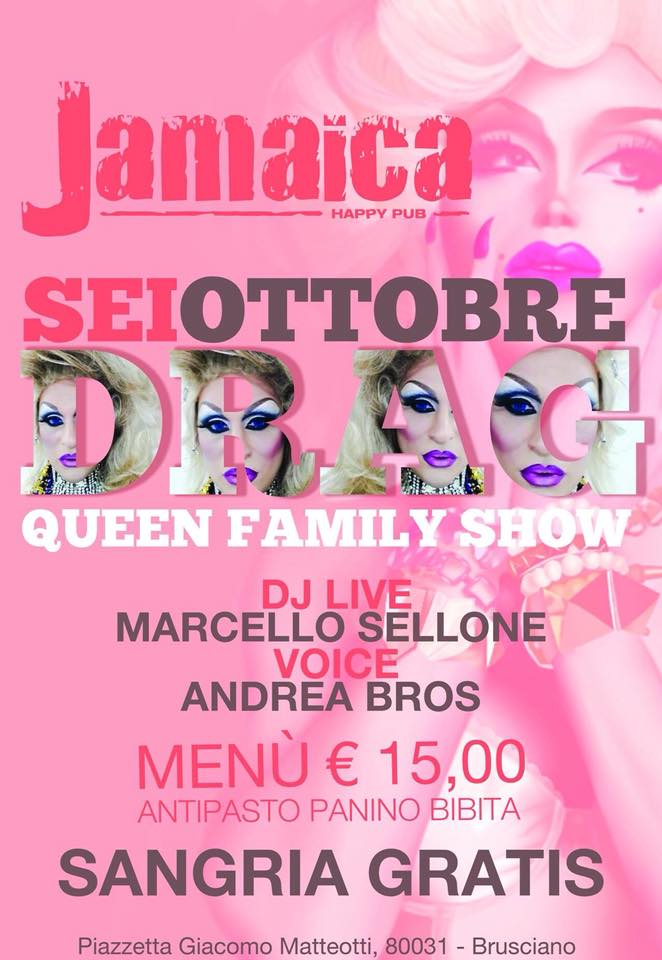 JAMAICA happy pub Brusciano, sabato 6 ottobre DRAG QUEEN Show e Disco