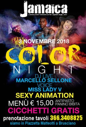 JAMAICA happy pub Brusciano, sabato 3 novembre COLOR Party e Disco