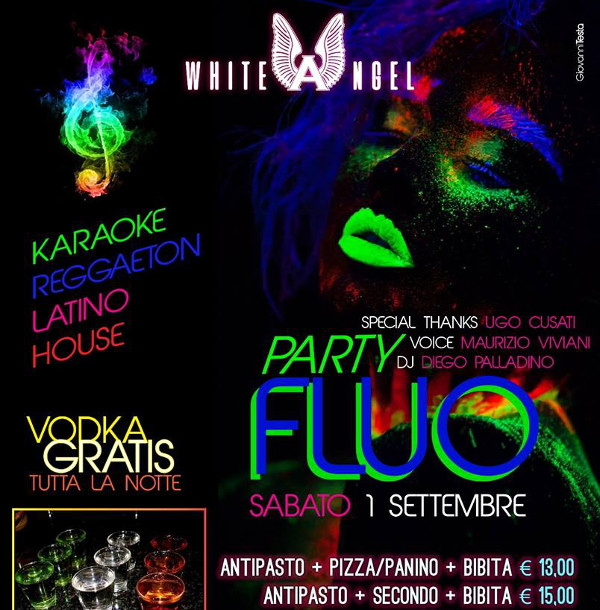 WHITE ANGEL Discopub Nola, sabato 1 settembre FLUO party e karaoke
