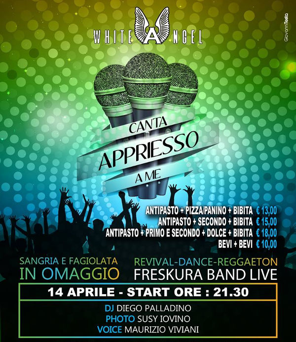 WHITE ANGEL Discopub Nola, sabato 14 aprile cena spettacolo con live FRESKURA