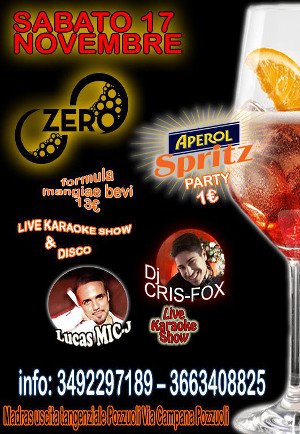 ZERO Madras Discopub Pozzuoli, sabato 17 novembre Spritz Party, karaoke e Disco