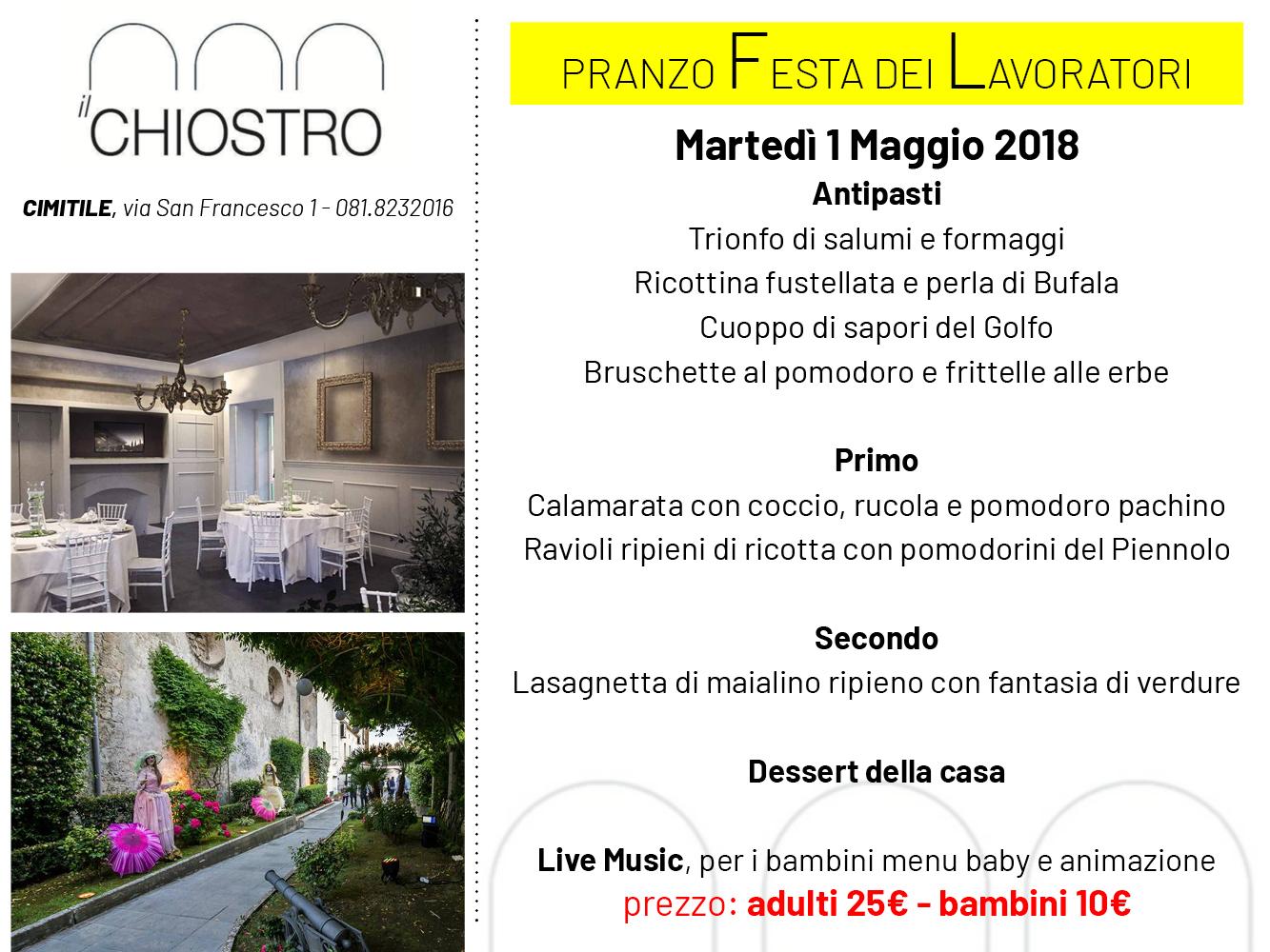 IL CHIOSTRO CIMITILE, martedì 1 maggio 2018 pranzo al Chiostro