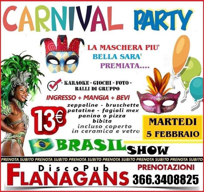 FLANAGANS Discopub Aversa, martedì 5 marzo FESTA DI CARNEVALE